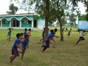 The Shekhwara Village School full of kids running