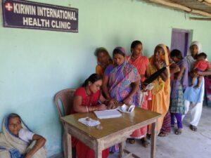 Line outside of the Kirwin international health clinic